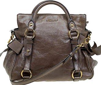 a61da8f2c4c Miu Miu Miu Miu Dark Grey Vitello Lux Leather Bow Top Handle Bag