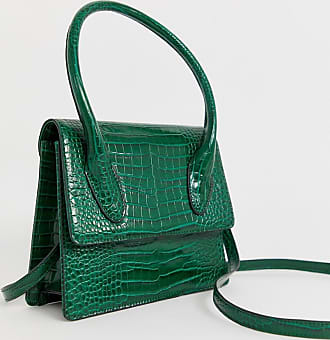 Glamorous bright green mock croc mini cross body bag