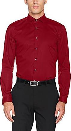 eterna Herren Businesshemd Modern Fit Langarm Rot Strukturiert mit Hai Kragen, Rot (Rot 57), 40