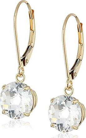 Amazon Collection 10k Yellow Gold Round Checkerboard Cut White Topaz Leverback Earrings (8mm)