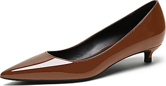 EDEFS Womens Low Heel Court Shoes Pointed Toe Slip On Lady Shoes Brown Pumps EU45/UK10.5