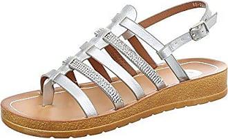 Ital-Design Riemchensandalen Damen-Schuhe Flach Strass Besetzte Schnalle  Sandalen   Sandaletten Silber, 90fb76fb86
