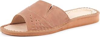 Ladeheid Women´s Leather Shoes Slippers Flipflops LABR34 (Beige, 6.5 UK)