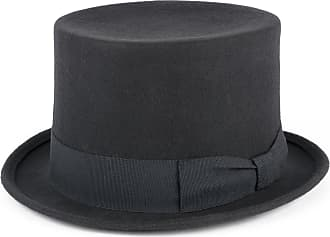Hat To Socks Wool Top Hat with Grosgrain Band Handmade in Italy (Grey, S (54/55 cm))