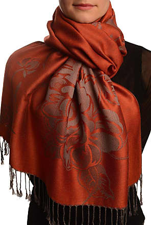 Liss Kiss Large Roses On Terracotta Pashmina Feel With Tassels - Brown Pashmina Floral Scarf