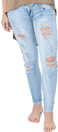 Re Tech UK Ladies High Waisted Ripped Knee Distressed Torn Worn Skinny Stretch Denim Jeans