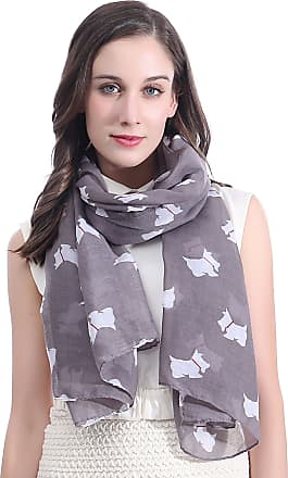 Lina & Lily Scottie Westie Dog Highland Terrier Womens Scarf Oversize (Taupe)(Size: One Size)