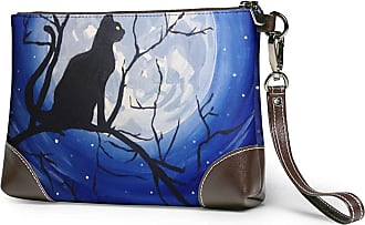 GLGFashion Womens Leather Wristlet Clutch Wallet Cat Paintings Storage Purse With Strap Zipper Pouch