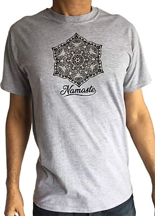 Irony Mens T-Shirt Namaste Flower Meditation Yoga Print TS1768 Grey