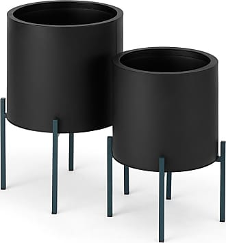 MADE.COM Noor 2 x grosse runde Pflanzstaende, Schwarz und Blaugruen