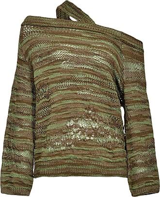 Pinko distressed off-shoulder jumper - Green