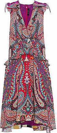 Etro Etro Woman Wrap-effect Ruffle-trimmed Printed Sillk Dress Magenta Size 46