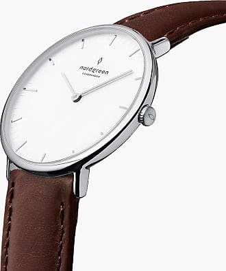 Nordgreen Native | White Dial - Dark Brown Leather - 32mm / Rose Gold