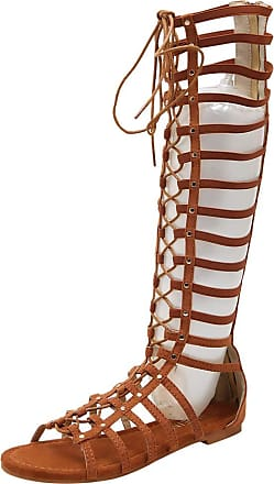 Jamron Women Knee High Gladiator Sandals Boots Flat Lace Up Zip Roman Strappy Sandals Brown SN02610 UK4