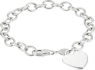 Amazon Collection Sterling Silver Heart-Tag Bracelet, 7.5