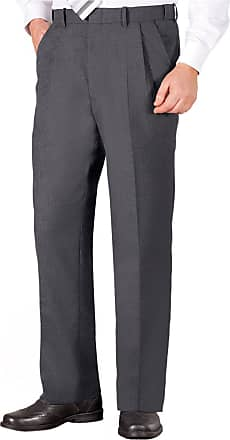 Chums Mens Poly Viscose Pleated Trouser Pants with Extra Stretch Waistband Grey 36W / 29L