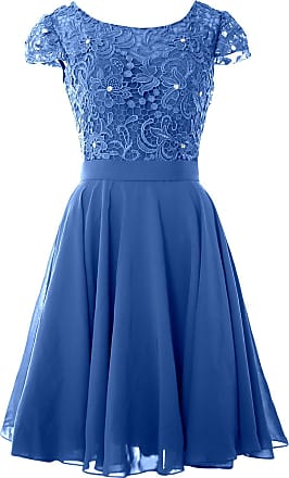 MACloth Women Lace Wedding Party Gown Cap Sleeve Short Mother of The Bride Dress (UK16, Horizon)