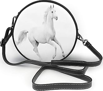 Turfed PU Round Shoulder Bag and ations Stallion Running Horse Gallop Motion Speed Equestrian Purse Single
