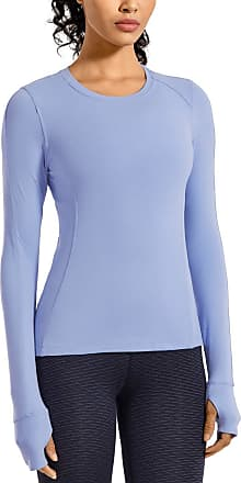 CRZ YOGA Womens Long Sleeve Running Shirt Athletic Workout Top with Thumb Holes Powder Blue 16