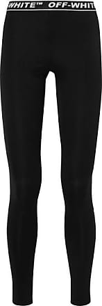 Off-white Perforated Stretch-jersey Leggings - Black