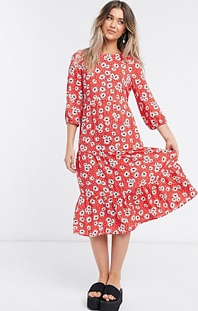 New Look tiered smock midi dress in red floral