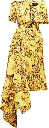 Richard Quinn Abstract Sunflower-print Asymmetric Satin Dress - Womens - Yellow Multi