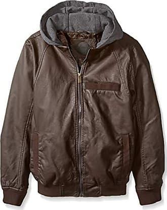 Urban Republic Mens Faux Leather Jacket, Brown, M
