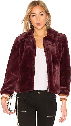 J.O.A. Faux Fur Bomber Jacket in Wine