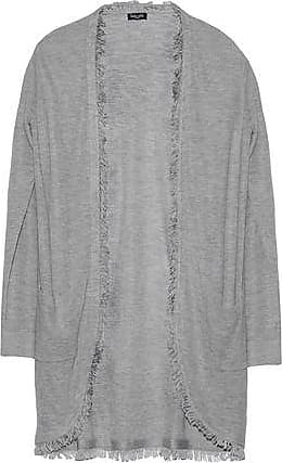 Splendid Splendid Woman Fringe-trimmed Knitted Cardigan Light Gray Size XS