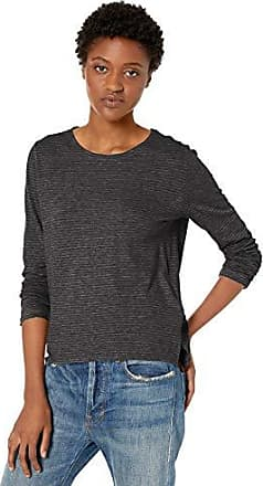 Striped Long Sleeve Crew Neck Majestic Filatures Womens Ribbed