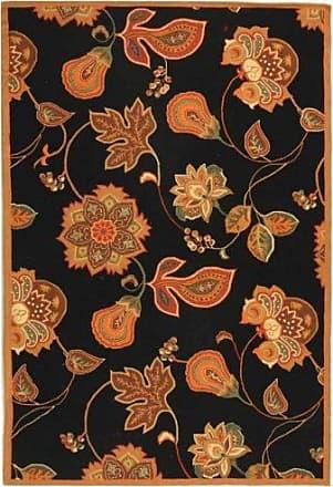 Safavieh Chelsea Collection HK209C Hand-Hooked Black and Orange Premium Wool Area Rug (29 x 49)