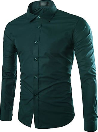 Isshe Mens Dress Shirts Long Sleeve Button Down Shirt for Men Fitted Shirts Male Slim Fit Casual Shirts Collared Office Business Shirt Turn-Down Suit Shirts