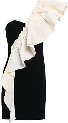 Cinq à Sept Cinq À Sept Woman One-shoulder Ruffled Twill And Crepe Mini Dress Black Size 10