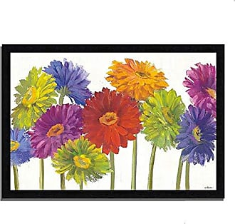 Tangletown Fine Art Colorful Gerbera Daisies by Carol Rowan Framed Art Red/Green/Blue/Purple