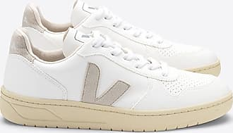 Veja V 10 weiße natürliche Butterscotch Kunstleder Trainer Schuhe - 42