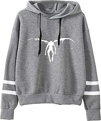 Haililais Death Note Pullover Pullover Sweatshirt Fashion Sweater Outerwear Adult Casual Sports Warm Wild Long Sleeve Men and Women Unisex (Color : Gray05, Size