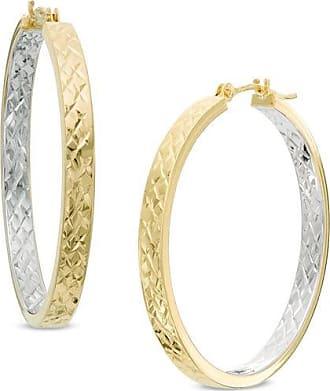 Zales Diamond-Cut Inside-Out Hoop Earrings in 10K Two-Tone Gold