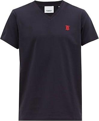 Burberry Logo-embroidered Cotton-blend V-neck T-shirt - Mens - Navy