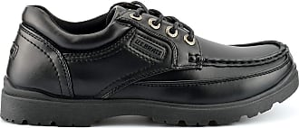 US Brass Mens Stubby Boat Shoes with Rugged Sole and Lace Up Fastening Black 13 UK