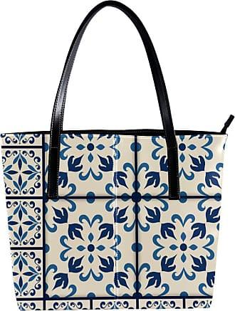 Nananma Womens Bag Shoulder Tote handbag with Traditional Azulejo s Pattern Zipper Purse PU Leather Top-handle Zip Bags