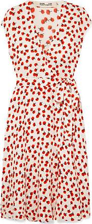 Diane Von Fürstenberg Goldie Floral-print Crepe Wrap Dress - Red