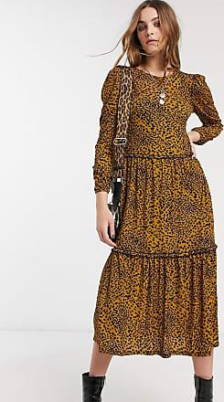 Topshop animal print tiered smock dress in mustard-Yellow