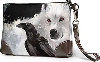 GLGFashion Womens Leather Wristlet Clutch Wallet Crows And Wolves Storage Purse With Strap Zipper Pouch