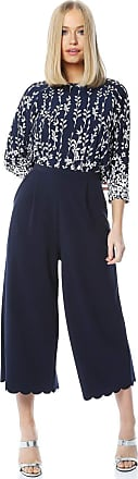 Roman Originals Women Culotte Wide Leg Cropped Stretch Trousers - Ladies Vintage Retro Smart Flared Slimming High Waist 1940s Party Pants Bottoms - Navy - Size 12
