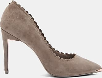 Ted Baker Scallop Detail Suede Courts in Light Grey SLOANA, Womens Accessories