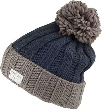 KuSan Ribbed Turn Up Bobble Hat - Navy-Grey 1-Size