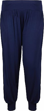 Purple Hanger Womens Plus Size Plain Trousers Leggings Ladies New Stretch Fit Tapered Leg Harem Pants Navy Blue Size 28-30