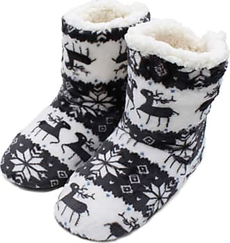 Not Applicable Clothing Winter Boots Slippers Christmas Coral Fleece Reindeer Print Non-Slip Sole Boots Slippers Hi-Top Slippers Home Indoor Shoes Gift for Men Women Grey