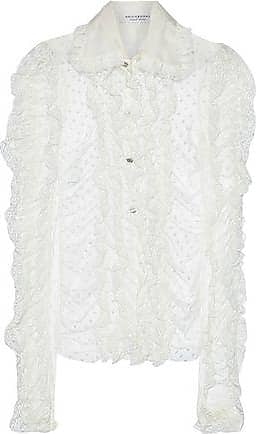 Philosophy di Lorenzo Serafini Philosophy Di Lorenzo Serafini Woman Ruffled Lace-trimmed Swiss-dot Tulle Blouse Ivory Size 42