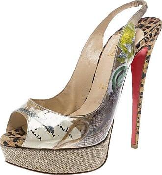 0eedf88a4ad Christian Louboutin Pvc Eco Trash Peep Toe Platform Slingback Sandals Size  39